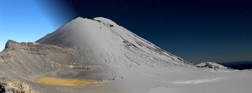 Tongariro Alpine Crossing Winter at Night